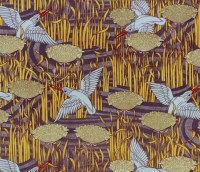 antique french art nouveau wallpaper design kingfisher and