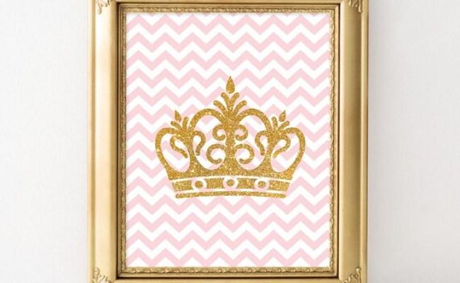 Crown Digital Art Print Pink Gold Glitter Wall By