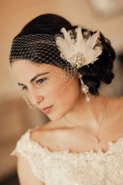 birdcage veil with wedding hair