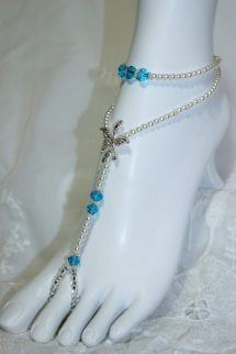 Pearl Turquoise Starfish Barefoot Sandals Subtleexpressions