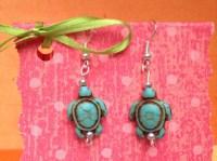 Turtle earrings-Childrens clip on earrings-Blue turtle