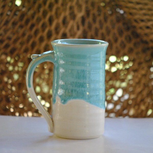 Large 16 ounce Stoneware Coffee Mug in Turquoise