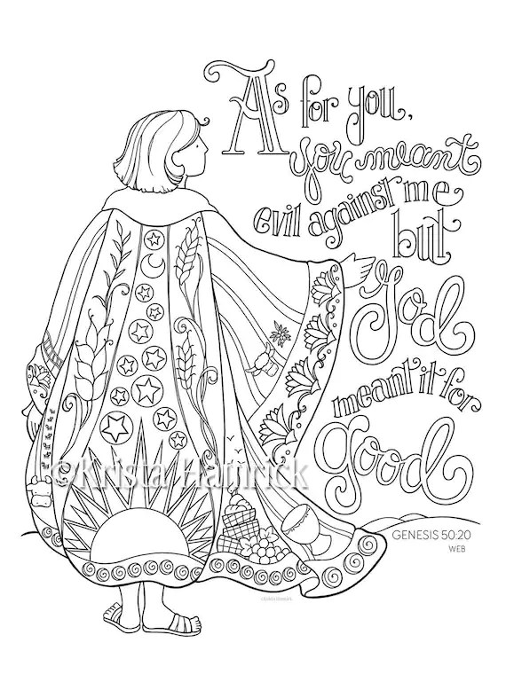 Joseph's Coat of Many Colors coloring page 8.5X11 Bible