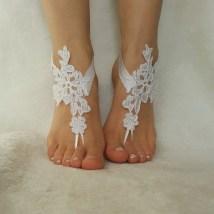 Snow White Free Ship Beach Wedding Barefoot Sandals