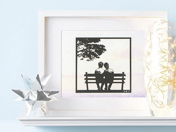 Gay Men Wedding Gifts Personalized Gay Couple Art Print Gay