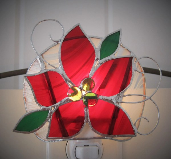 Poinsettia Stained Glass Night Light Christmas