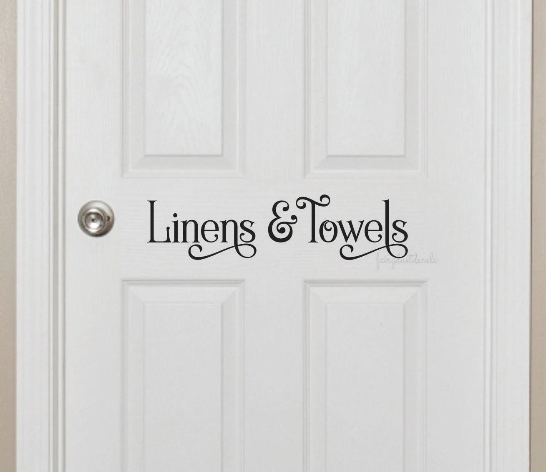 Linen closet door decal for bathroom linens and towels