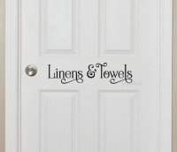 Linen closet door decal for bathroom linens and towels