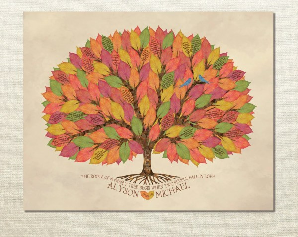 Unique Fall Wedding Guest Book Tree Alternative by