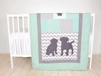 Baby Boy Bedding, Puppy Quilt, Dog Nursery Blanket ...