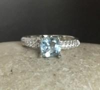 Aquamarine Engagement Ring Promise Ring for Her Aquamarine