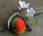 Needle felted Apple Brooch Felt Brooch Red Apple with flowers Felt Flower Brooch Whole Apple Pin Brooch
