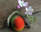 Needle felted Apple Brooch Felt Brooch Red Apple with flowers Felt Flower Brooch Whole Apple Pin Brooch