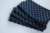 Navy and white polka dot cloth napkins set of 4 napkins. navy