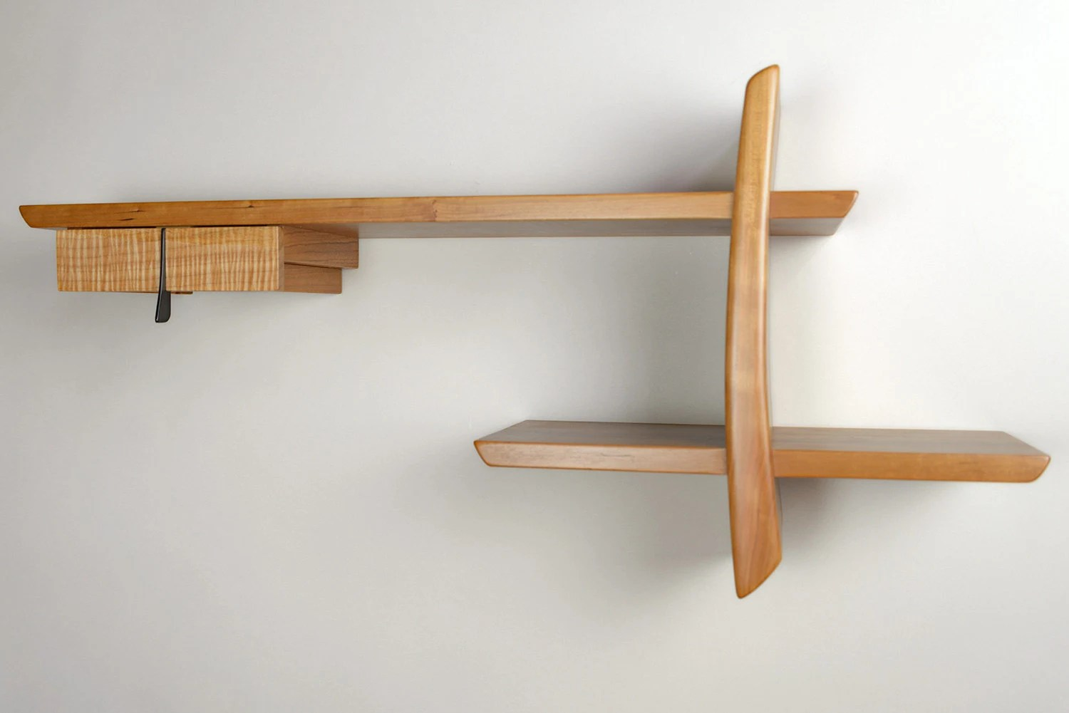 Japanese Inspired Solid Cherry And Maple Wood Wall Shelf