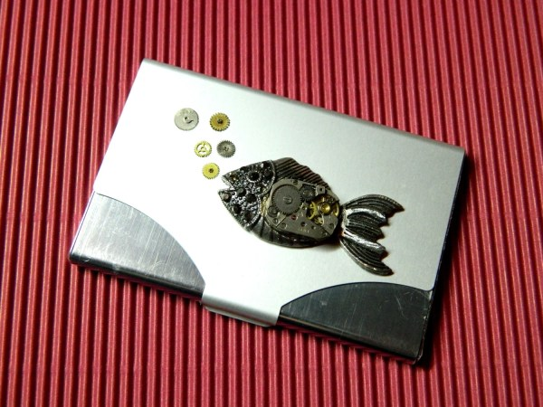 Steampunk Business Card Holder Submerged Time
