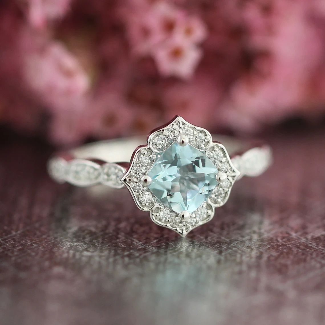 vintage floral engagement ring