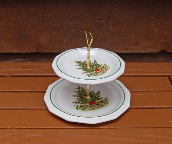 Christmas Serving Tray Pfaltzgraff Heritage 2 Tier