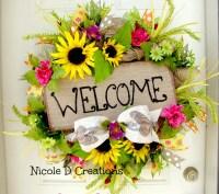 Summer Wreath Front Door Wreaths Deco Mesh Wreath Welcome