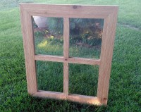 Rustic Cedar 4-Pane Window Mirror