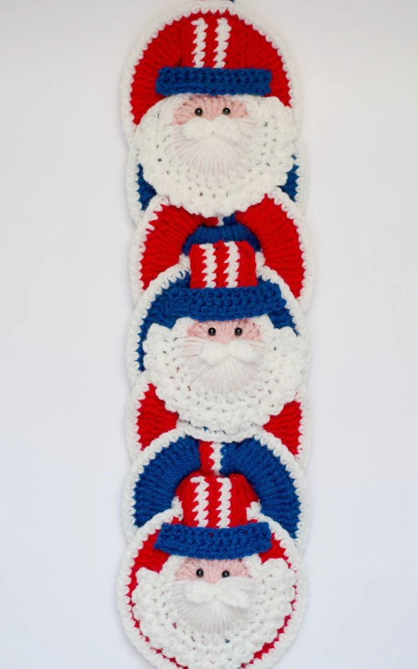 Uncle Sam CROCHET PATTERN instant download - Crochet Decoration, Memorial Day, Fourth of July, Patriotic Crochet Pattern
