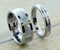 Mother Of Pearl Tungsten Wedding Band Set by ...