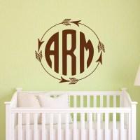 Rustic Monogram Wall Decal Arrow Monogram Decal by ...