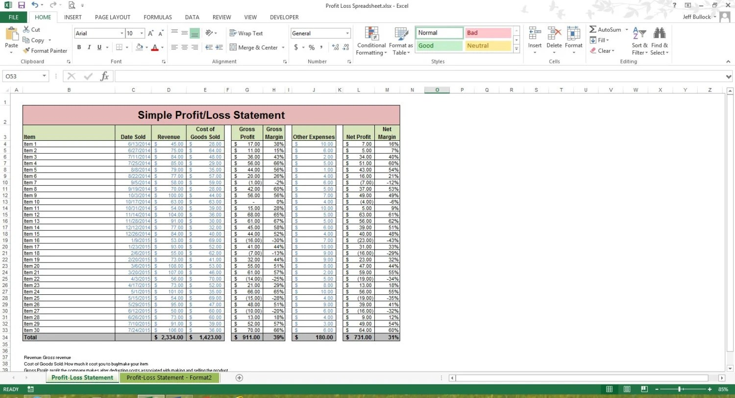 Profit Loss Statement Excel Spreadsheet Template Microsoft
