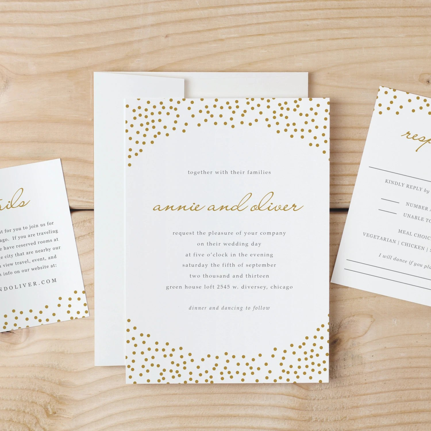 Wedding Invitation Template Gold Dots Word Or
