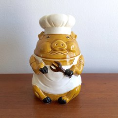 Ceramic Kitchen Canisters Staten Island Cabinets Piggy Cookie Jar / Chef Pig Container With Lid