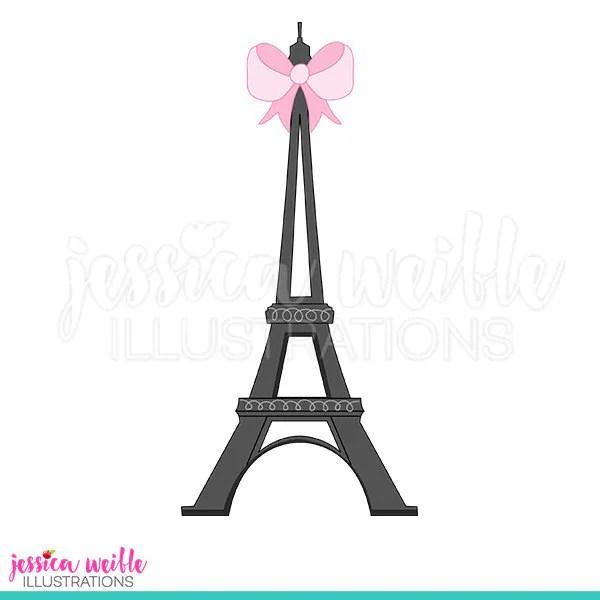 eiffel tower with bow cute digital