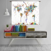 Wall art world map print college student gift by ...