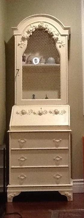 Antique French Provincial Secretary Desk Dresser With Hutch