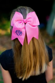 monogrammed girl's hot pink hair