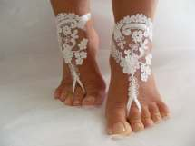 White Lace Ooak Barefoot Sandals Beach Wedding