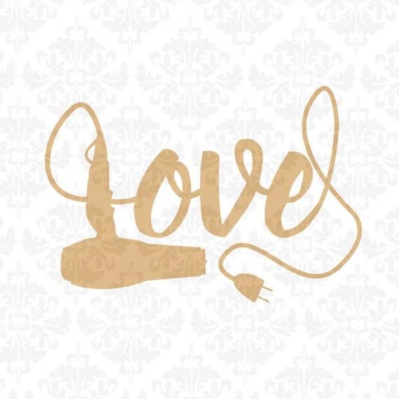Hairdryer Hair Stylist Love SVG STUDIO Ai EPS by ...