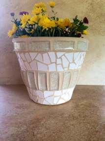 Large Flower Pot Rustic Mosaic Planter Handmade Indoor