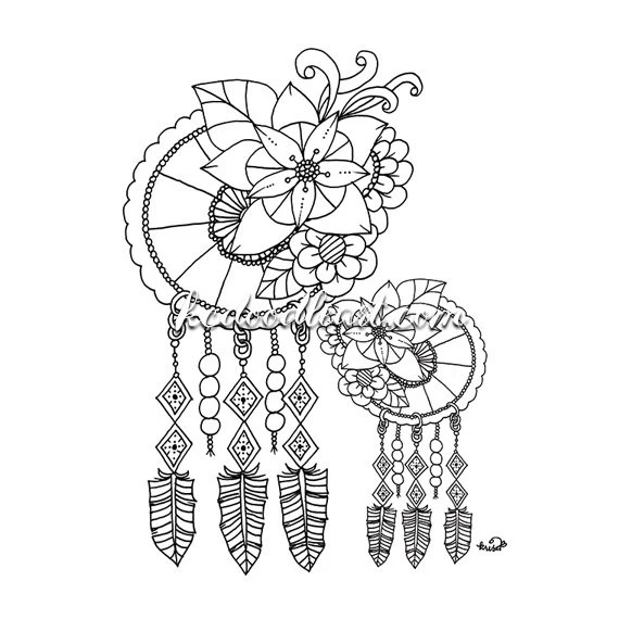 Instant Digital Download dreamcatcher coloring page