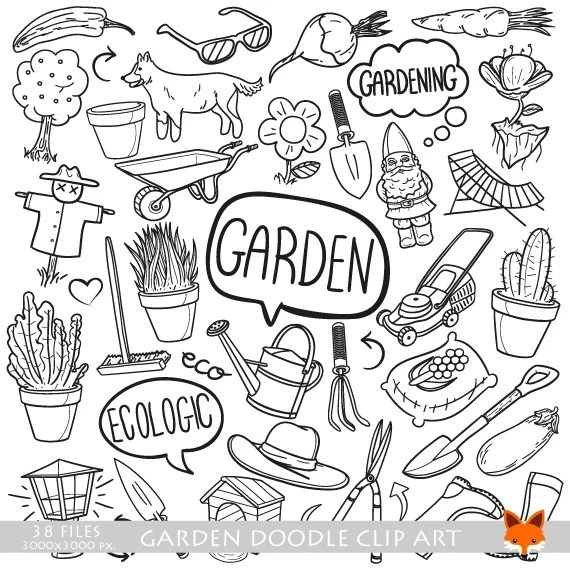 Garden Out Door House Family Works Doodle Icons Clipart