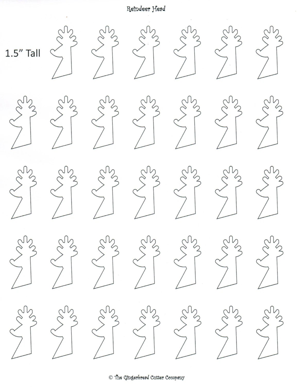 Reindeer Head Royal Icing Transfer Template from