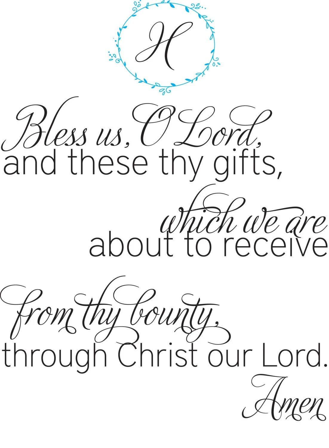 Catholic Blessing Wall Art Bless Us Oh Lord Mealtime