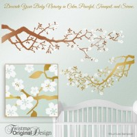 Baby Nursery Gold Tree Wall Decal Cherry Blossoms Tree