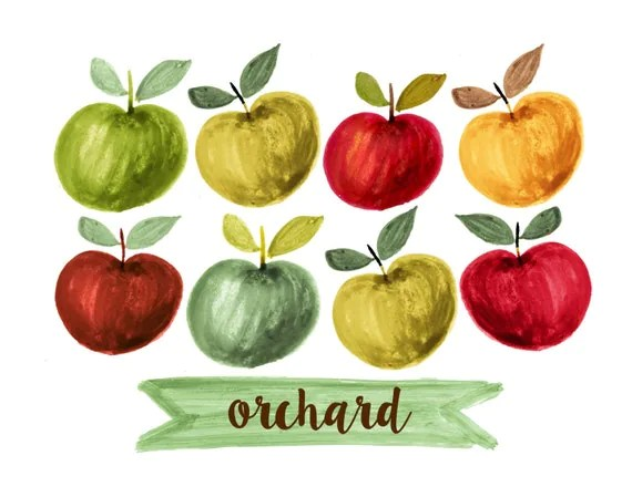 apples clipart fruit watercolor