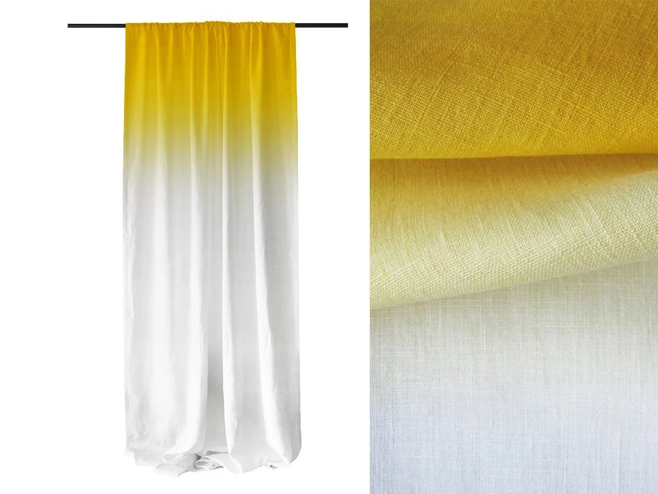 Yellow Ombre Window Curtains Unlined Or Blackout By