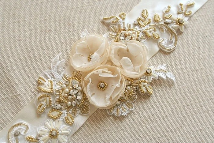 SALE Bridal Belt Wedding Dress Sash Flower Bridal Sash Ivory