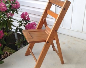childrens potty chairs upright posture chair folding wooden / vintage wood