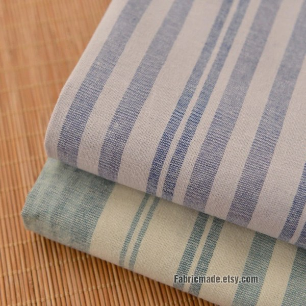 Blue and White Striped Linen Cotton Fabric