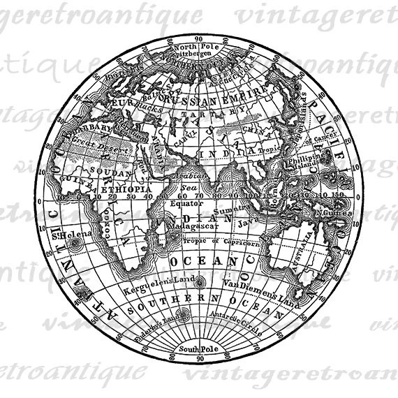 Digital Printable Antique Earth Globe Map by