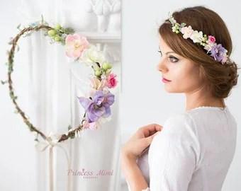 Braut Blumenkranz Hochzeit Haarband Blumen Haarschmuck