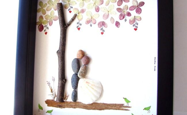 Unique Wedding Gift For Couple Wedding Pebble Art By Medharode
